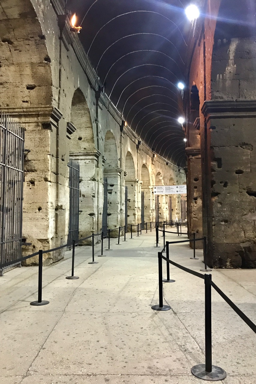 empty corridors inside colosseum at night