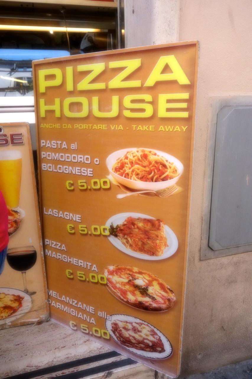 tourist menu rome