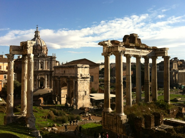 view of the roman forum from behind campidoglio