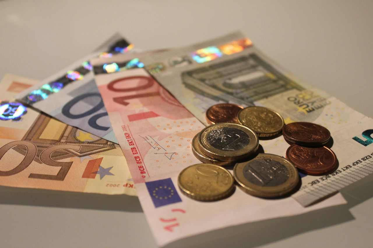 Euro bills and coins