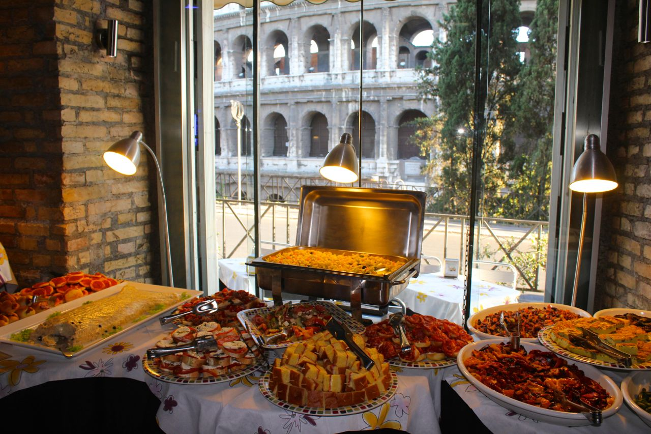 antipasto buffet at oppio cafe near the colosseum