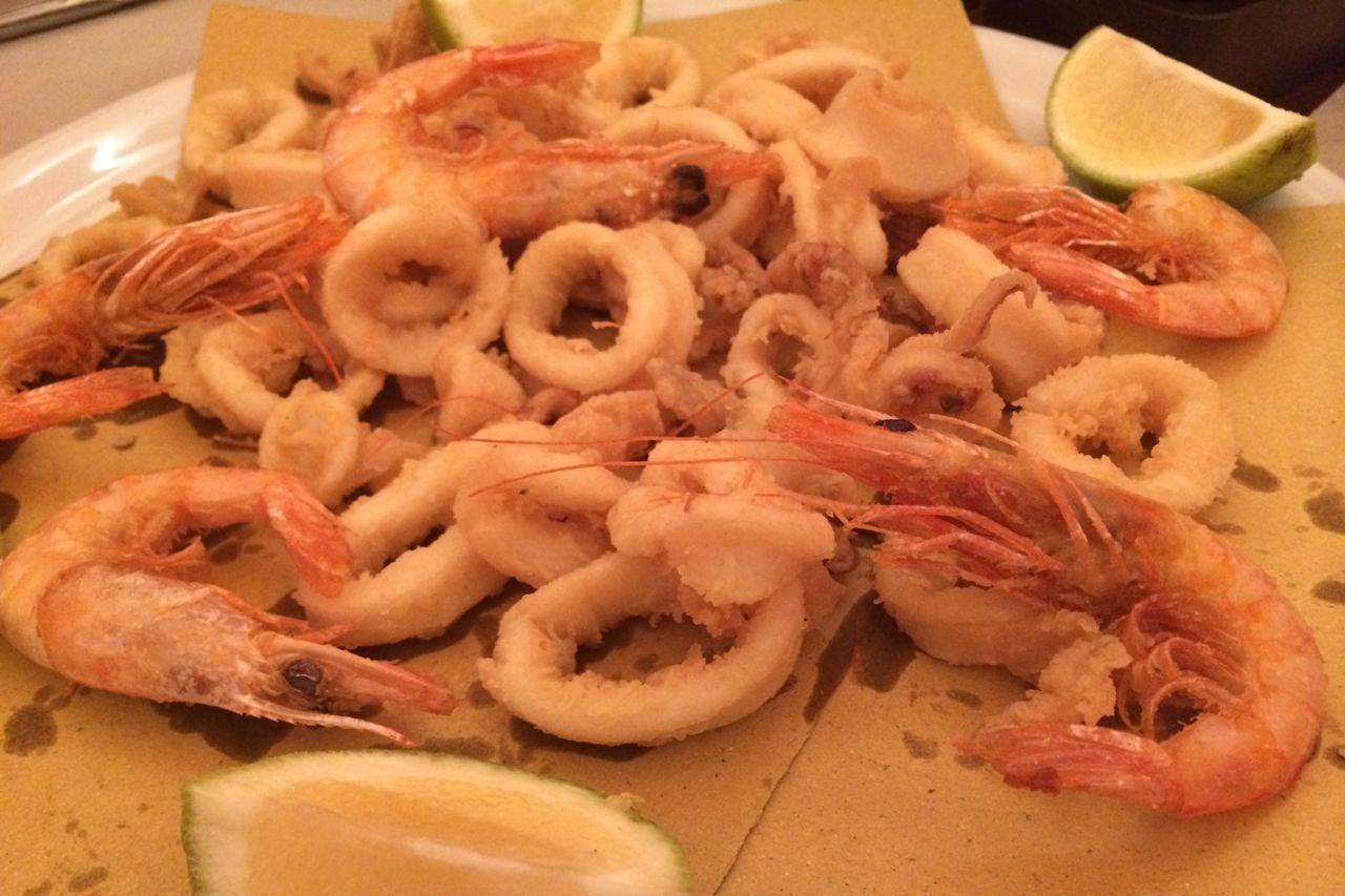 fritter of calamari and shrimp at i clementini
