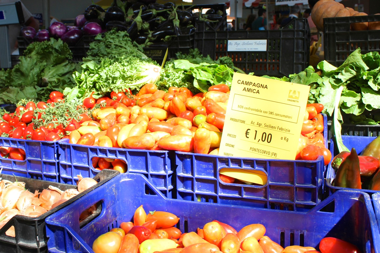 fresh fruits and veggies for sale at campagna amica market