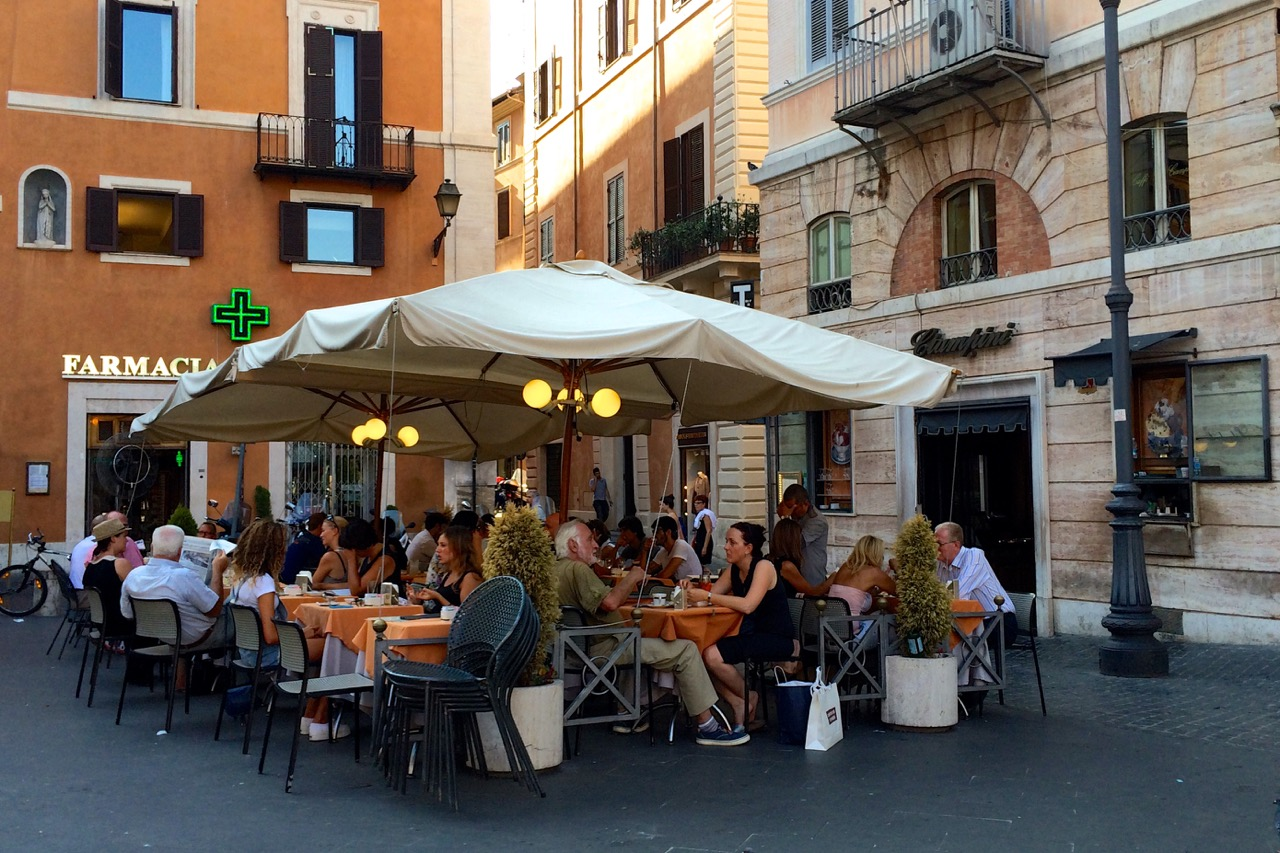 eating lunch outside at ciampini in rome
