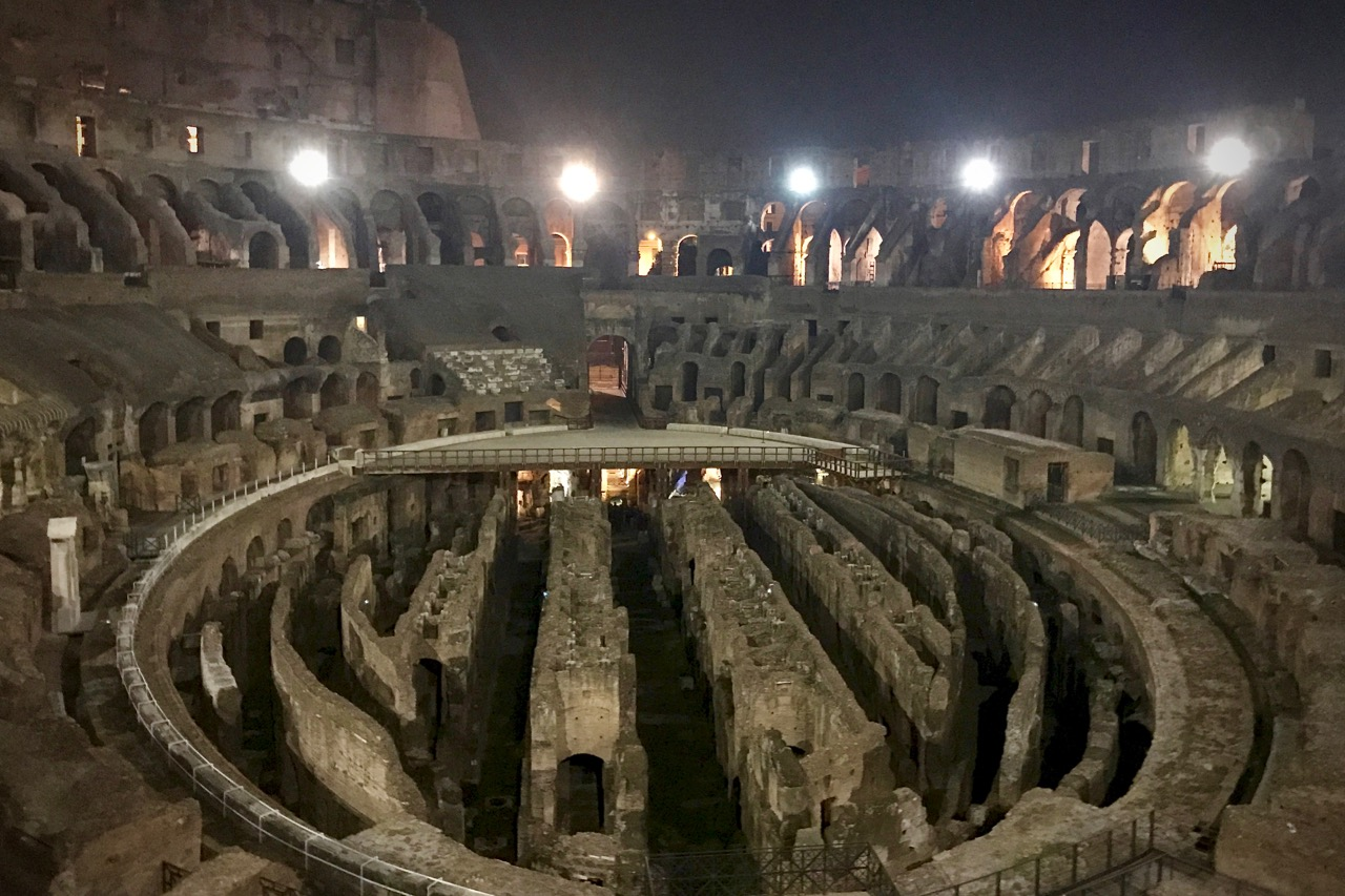 inside of rome colosseum during night tour