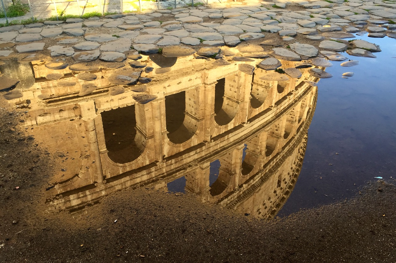 reflection of colosseum in rain puddle
