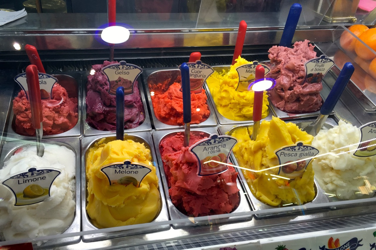 fake gelato fruit flavors