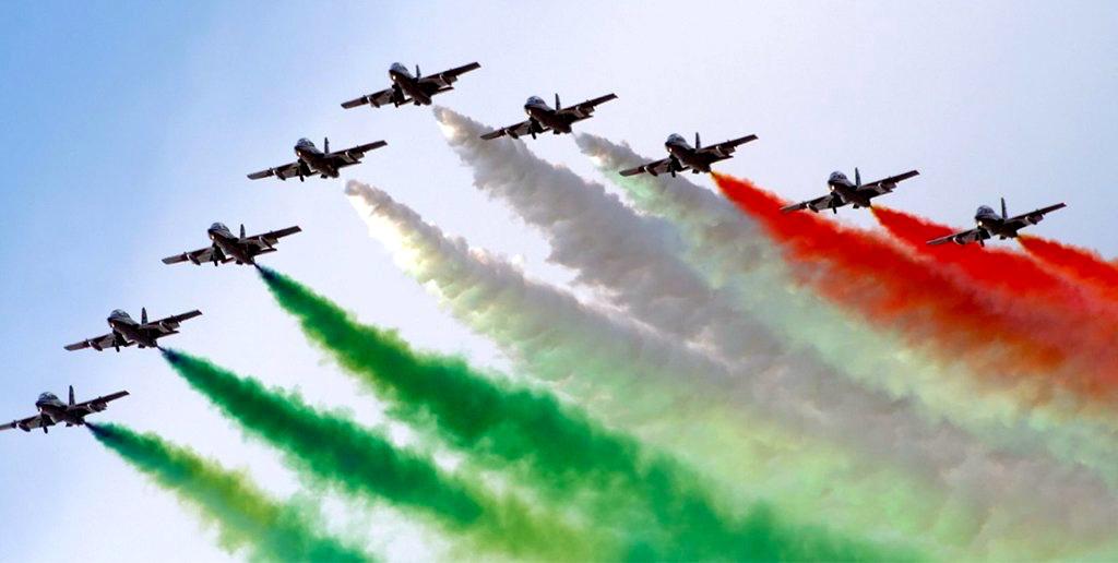 tri-colore flyover on festa della repubblica