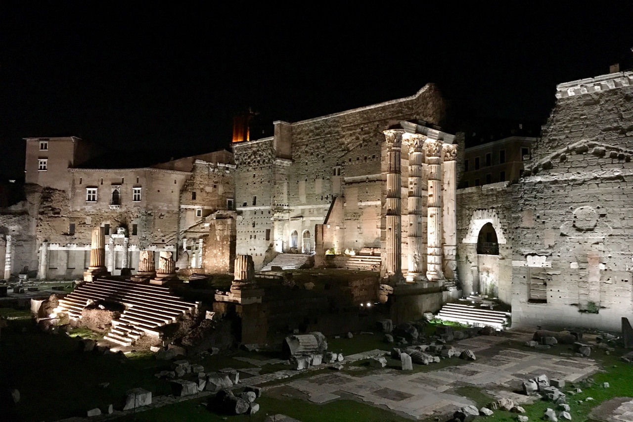 Forum of Augustus at night, part of the Roman Guy Colosseum night tour