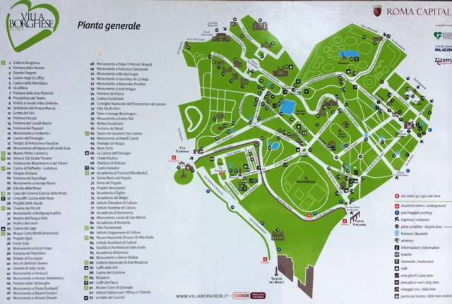 map of villa borghese park in rome