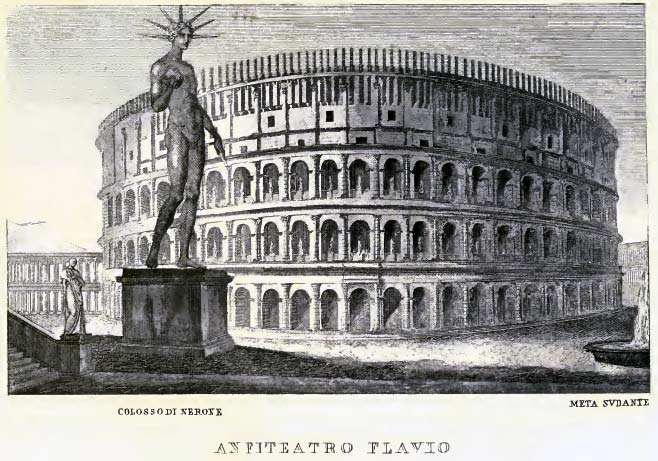 a sketch of what the giant colossus of nero might have looked like next to the colosseum