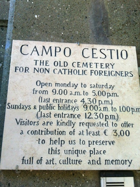 non catholic cemetery sign