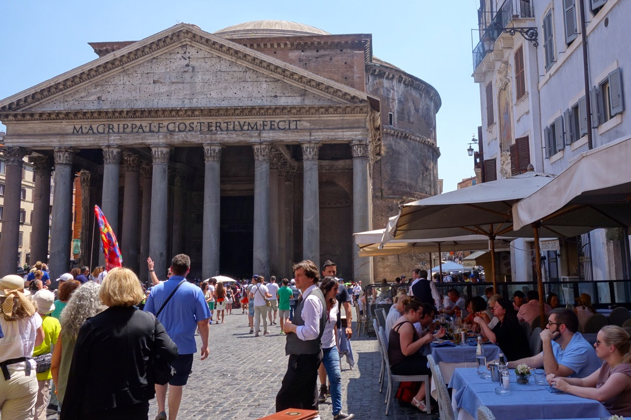 Piazza della Rotonda with tables with view of the Pantheon in Rome