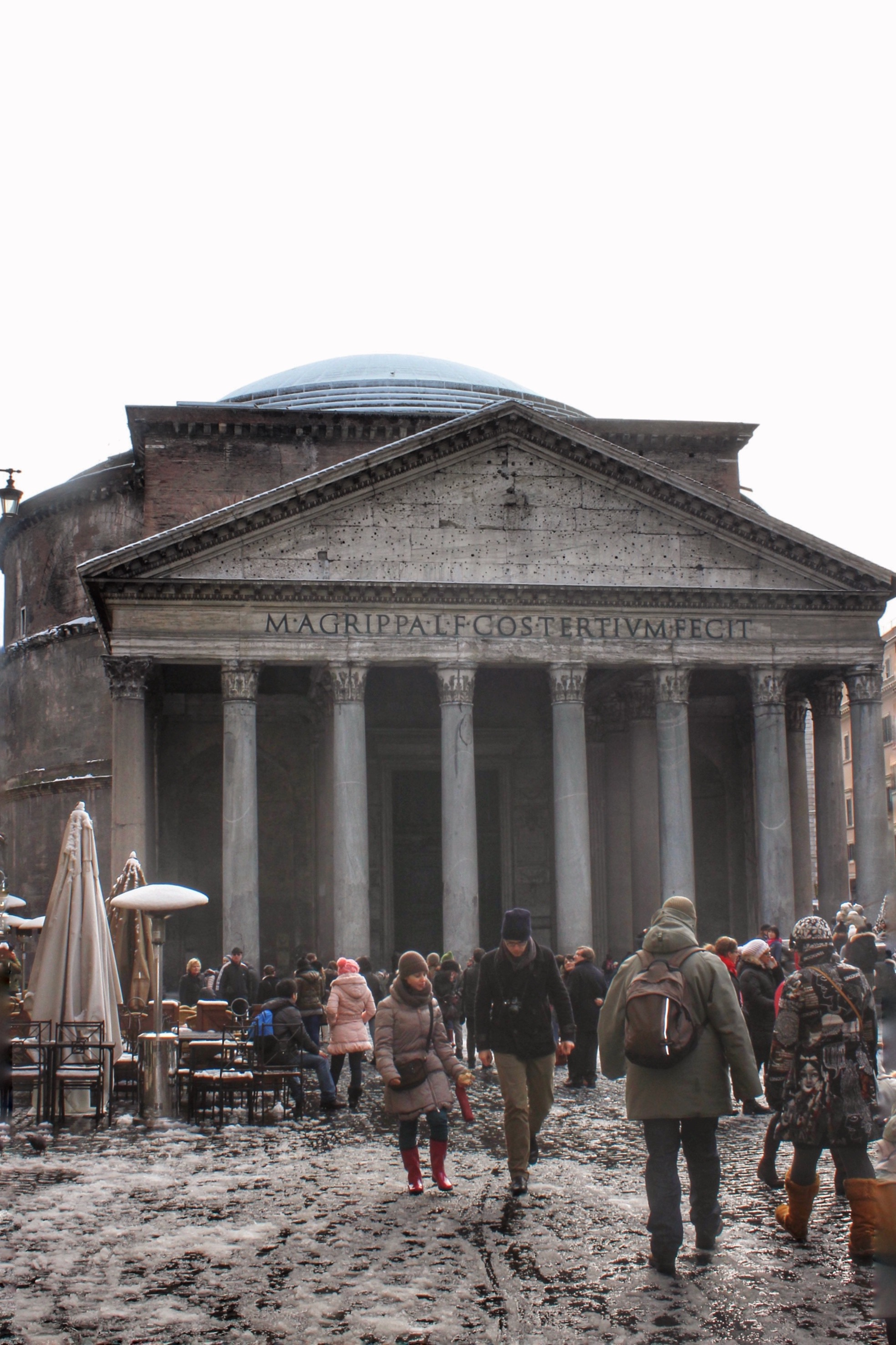 pantheon with snow
