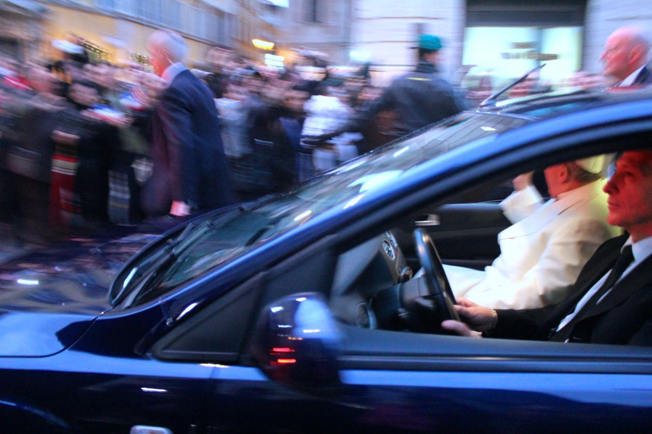 pope francis driving by
