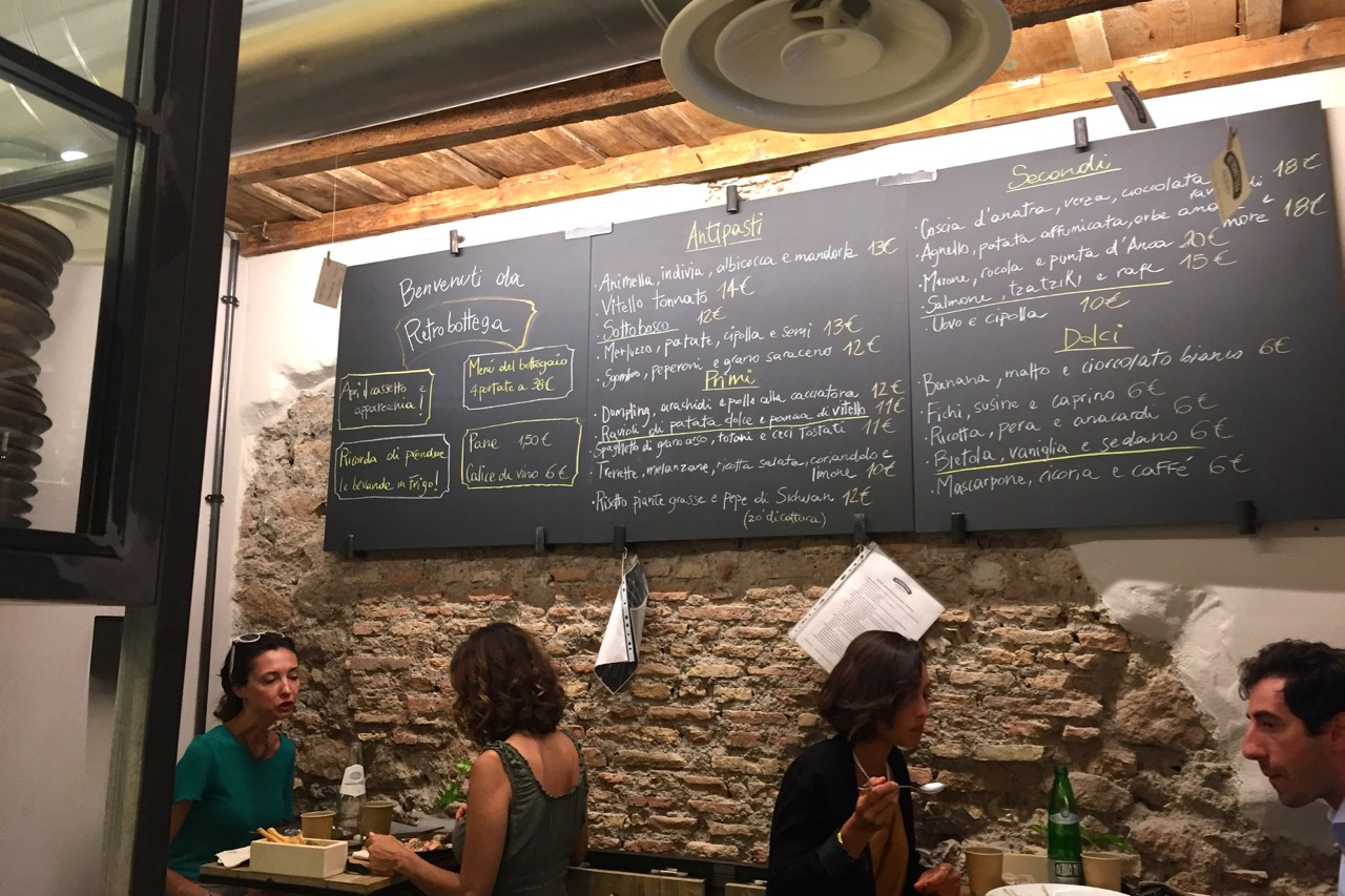 chalkboard menu at retrobottega