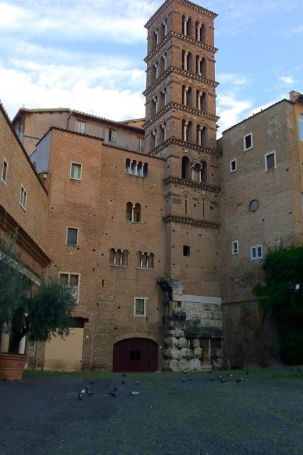romanesque bell tower near santi giovanni e paolo