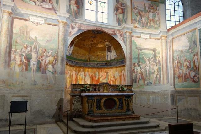7th century mosaic in apse of santo stefano rotondo