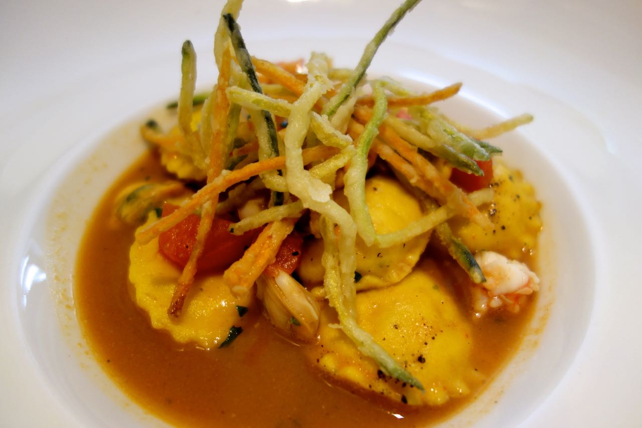 seabream ravioli with shellfish broth at Crispi19