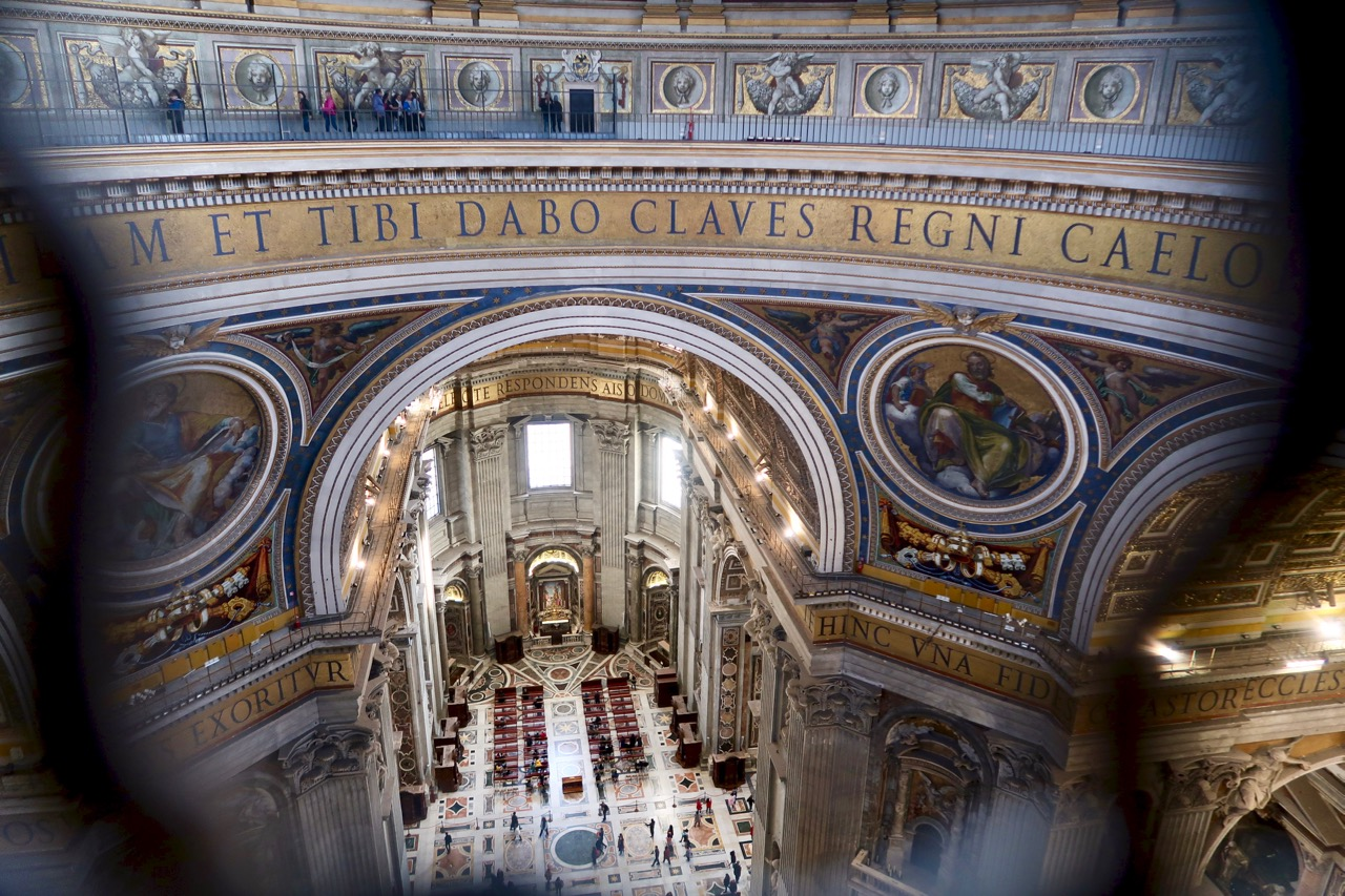 looking down inside st peters basilica from the dome
