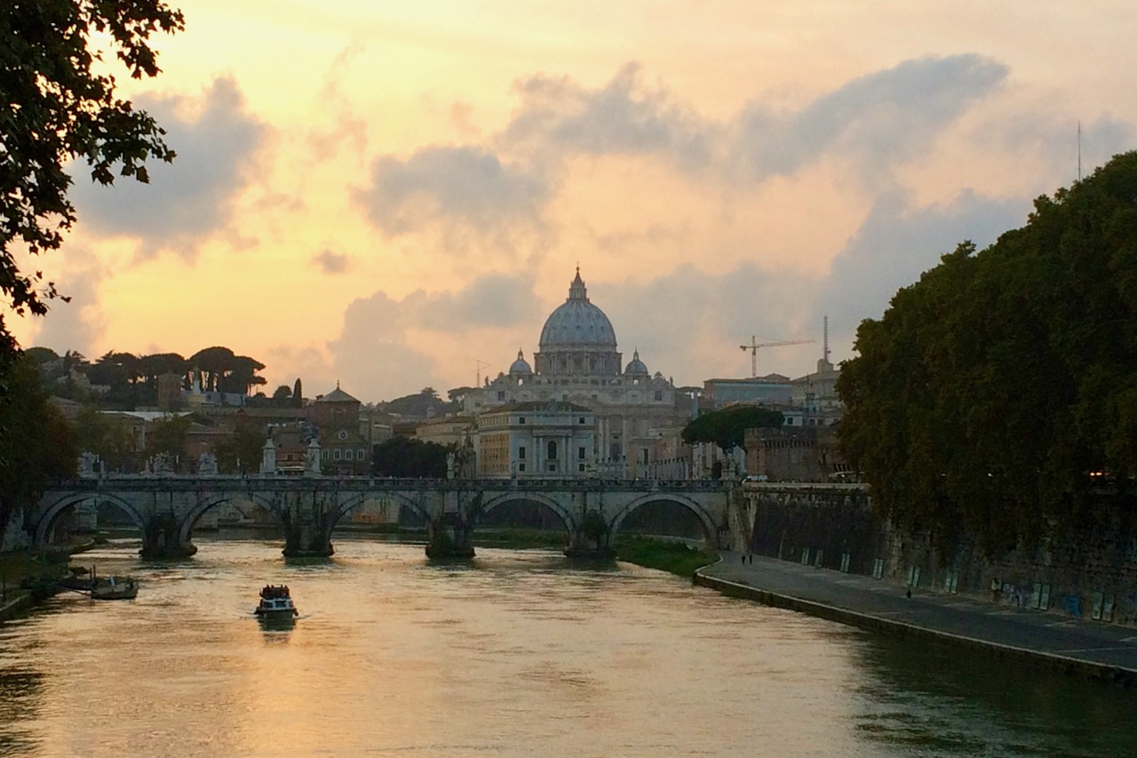 st peter's basilica at sunset