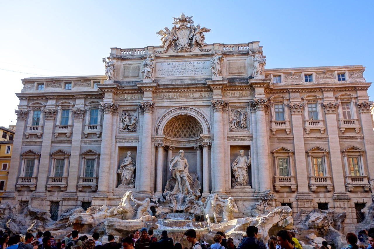 trevi fountain rome with palazzo poli