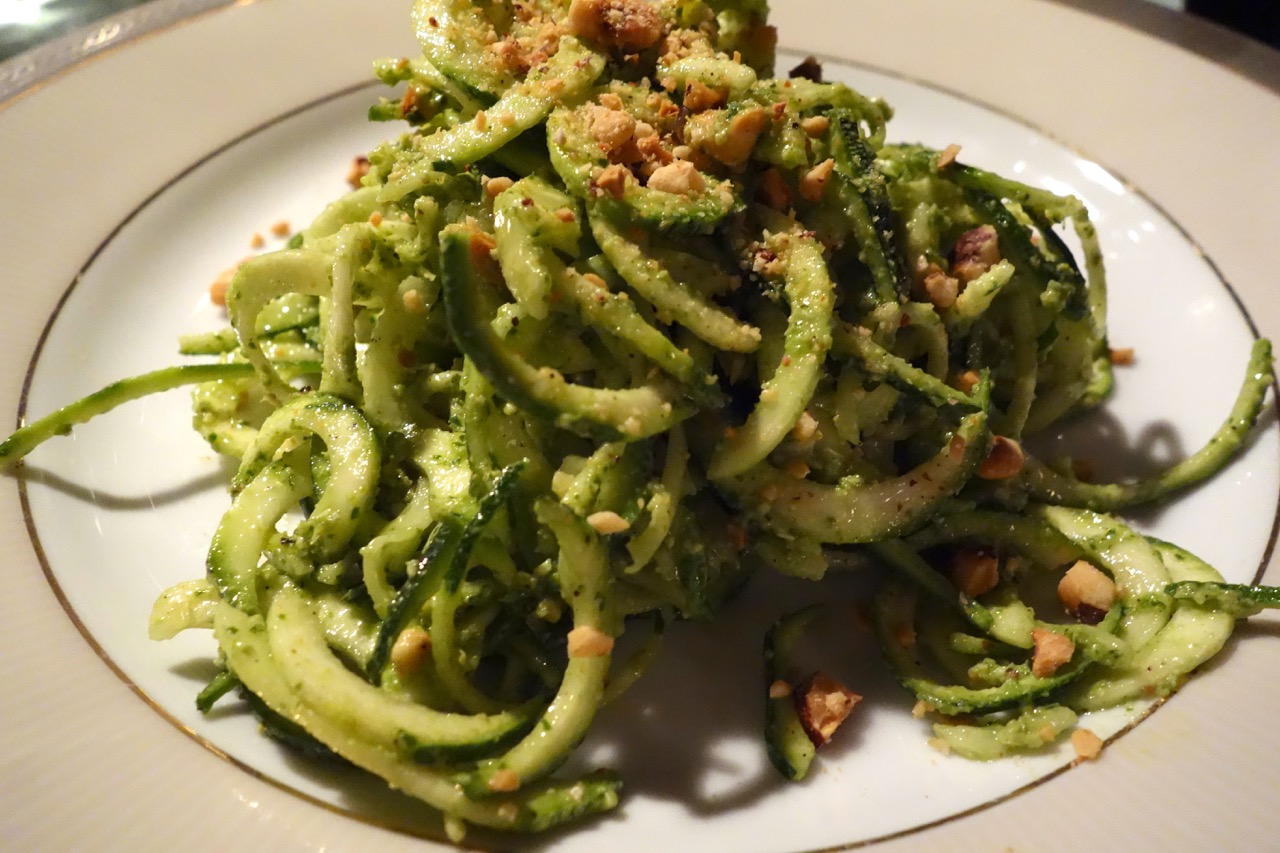 zucchini pasta with pesto and hazelnuts at urbana 47