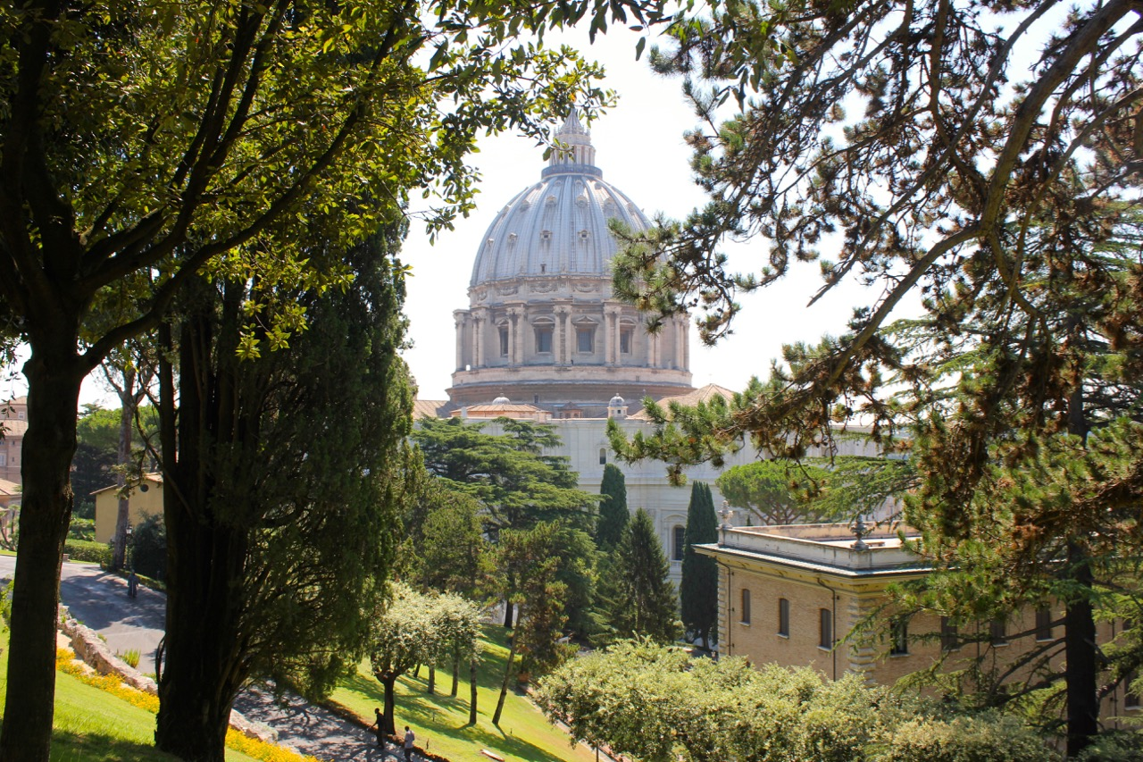 view of st. peter's dome from the garden walkway