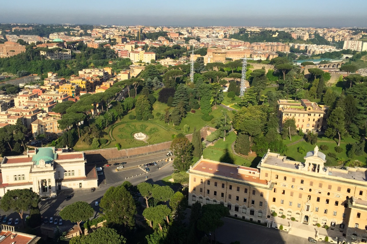 view of vatican gardens from st peters dome