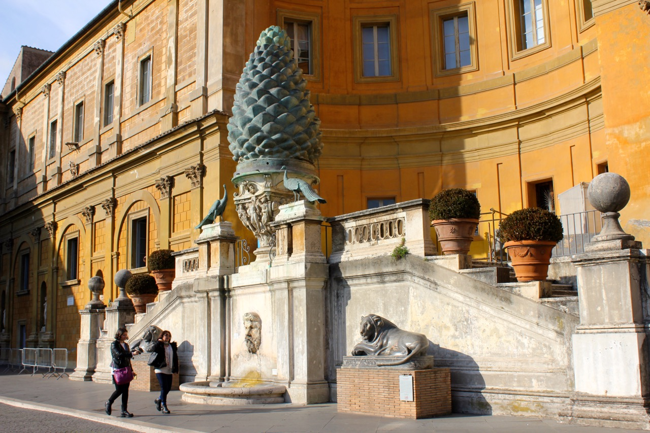 pinecone and peacocks in the pinecone courtyard of vatican museums