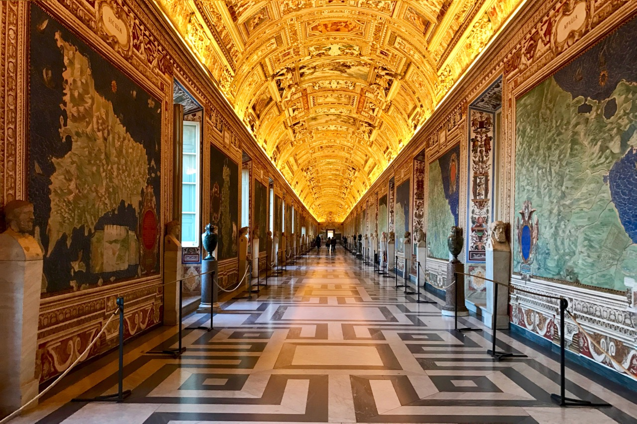 ceiling of the map room in vatican museums