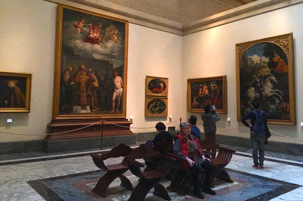 sitting in the Pinacoteca in vatican museums