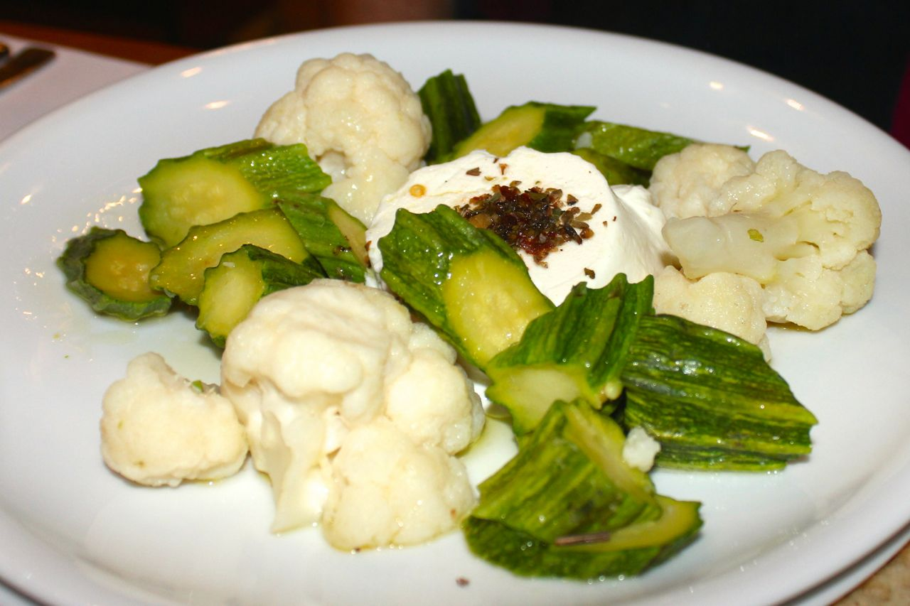steamed veggies with goat cheese at cul de sac