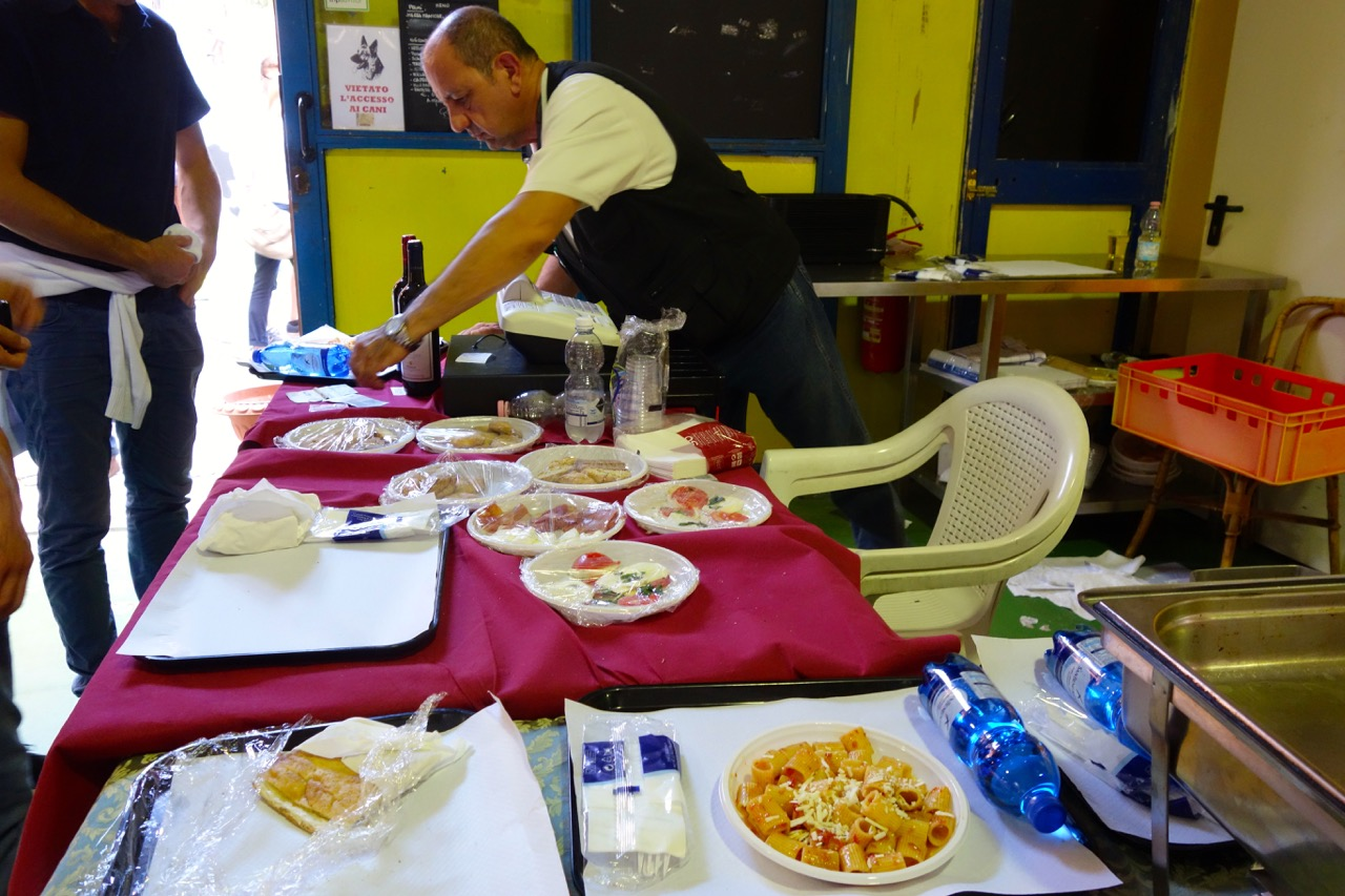 lunch prep at campagna amica farmers market