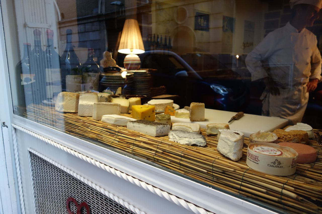 cheeses as seen from the outside of al bric in rome