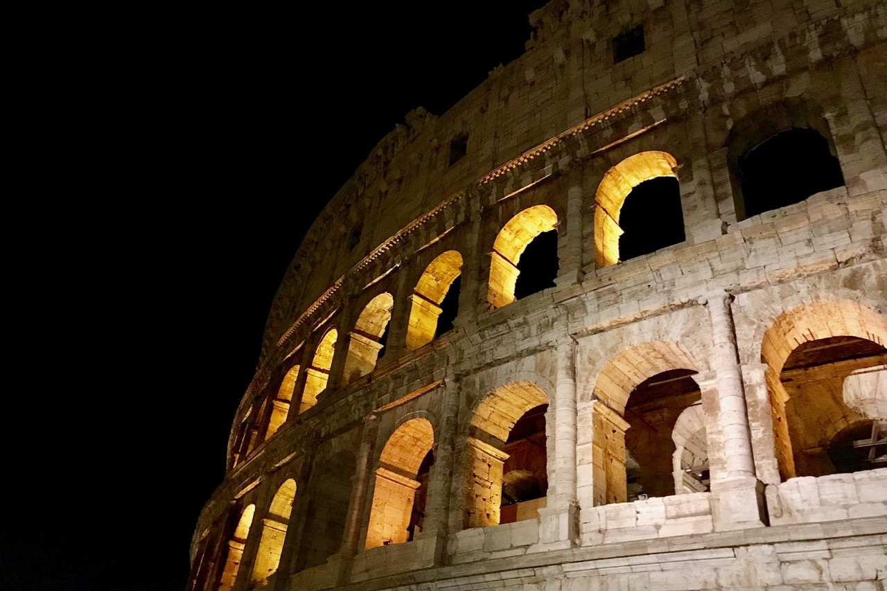 night view of colosseum from outside