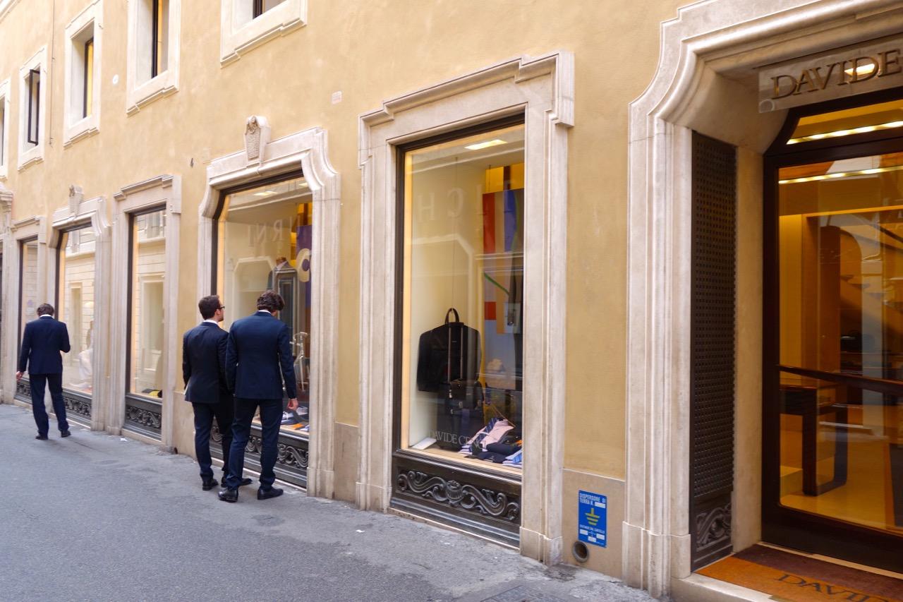 men shopping at davide cenci in rome