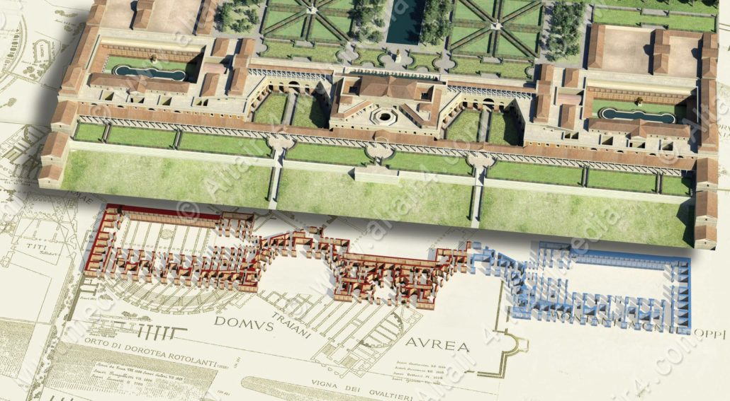 sketch of nero's golden house underneath trajan's baths