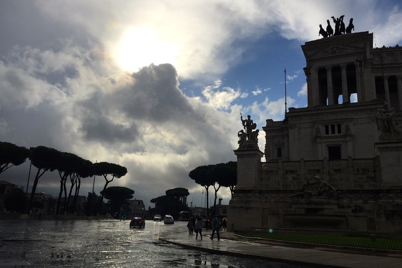 rainy skies on fori imperiali in rome