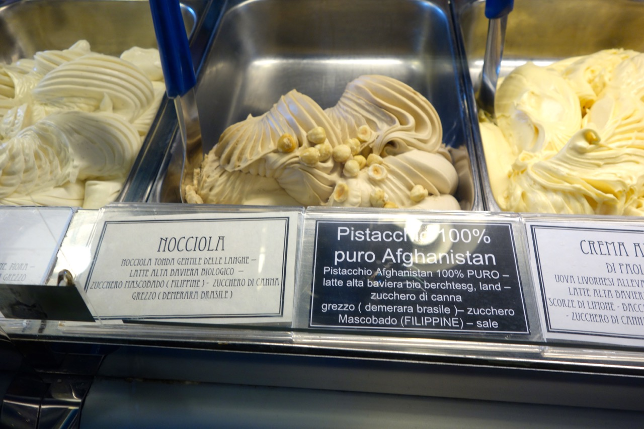 ingredients in the all-natural gelato at Neve di Latte