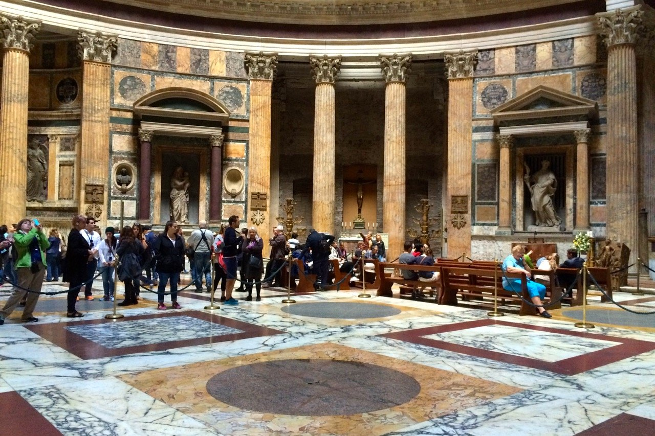 see the rainwater drain in the pantheon