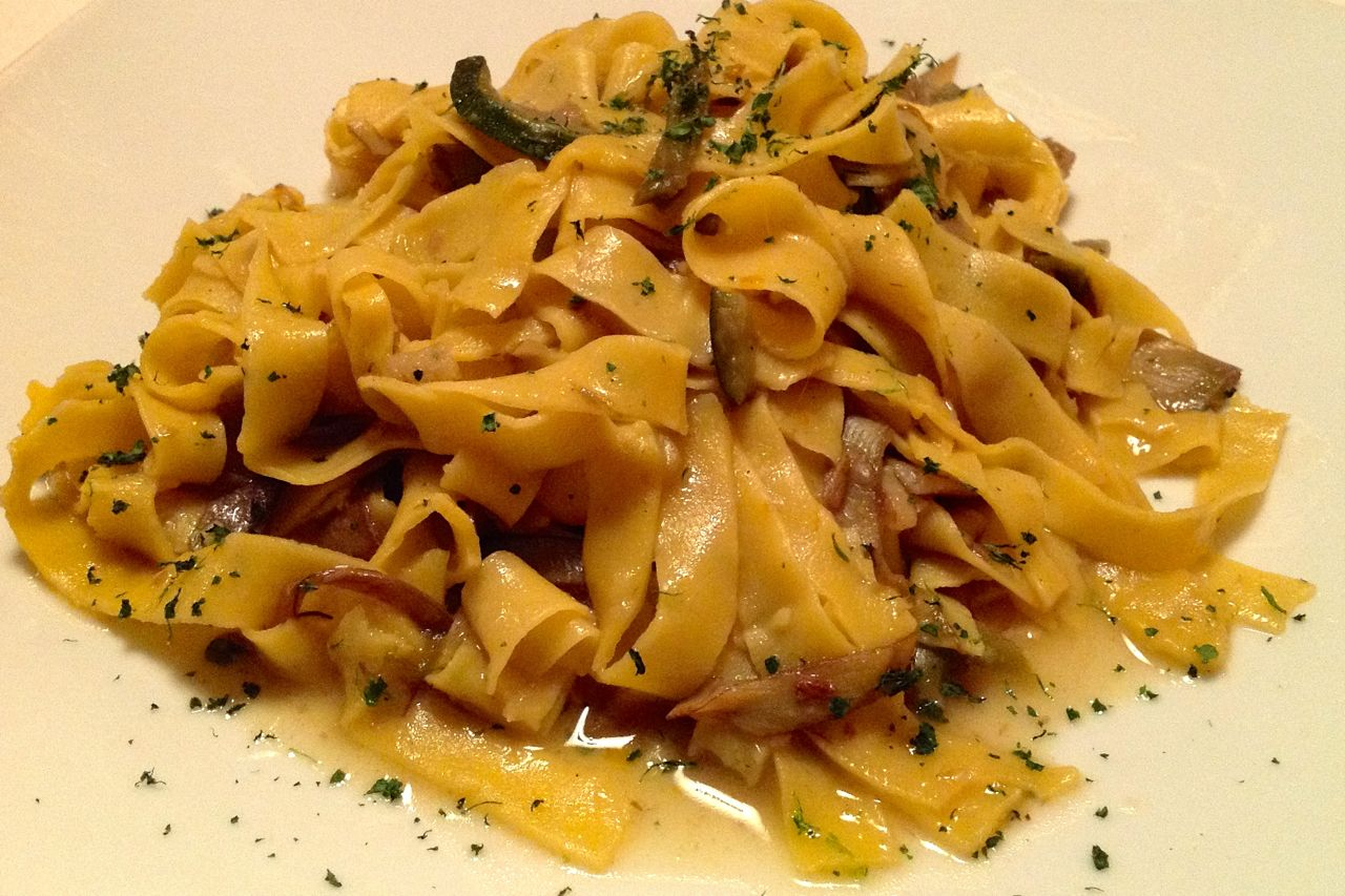 papardelle with artichokes at trattoria monti in rome
