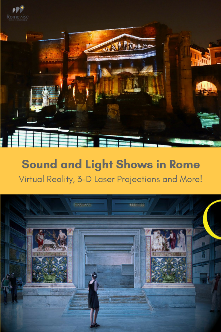 Light and sound shows in Rome - virtual reality. 3-D laser projections, and more! By Romewise