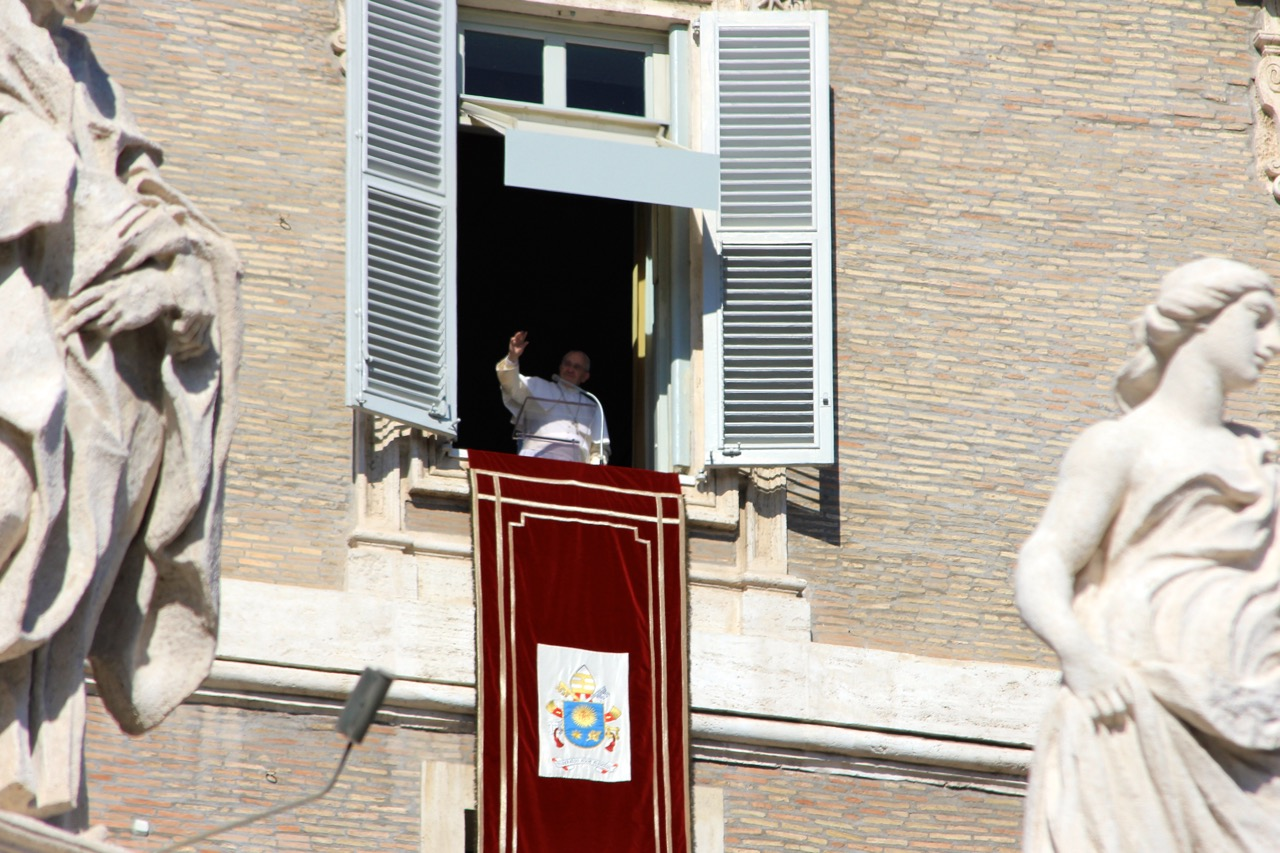 Pope Frances giving the Angelus