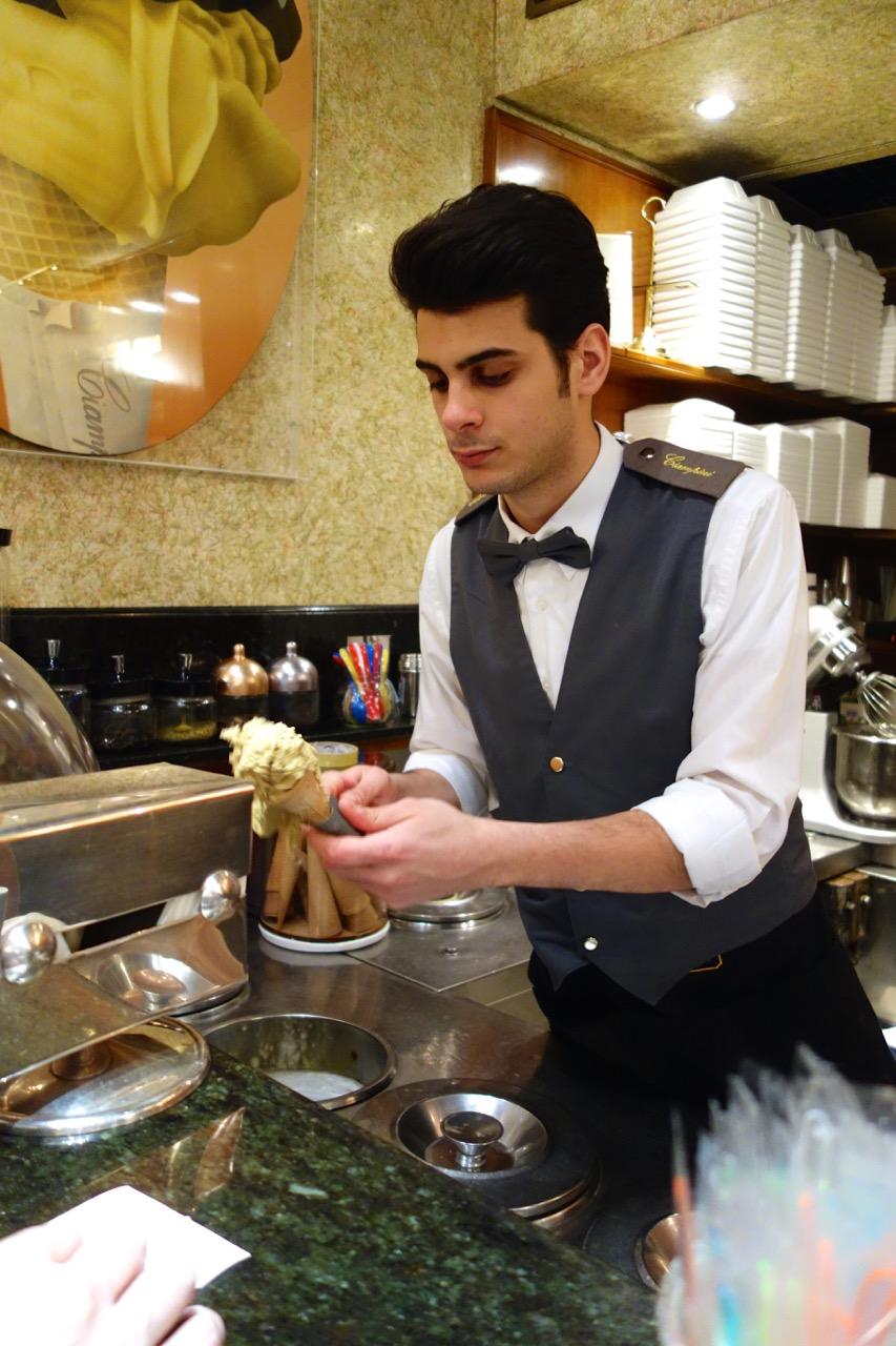 serving gelato at ciampini