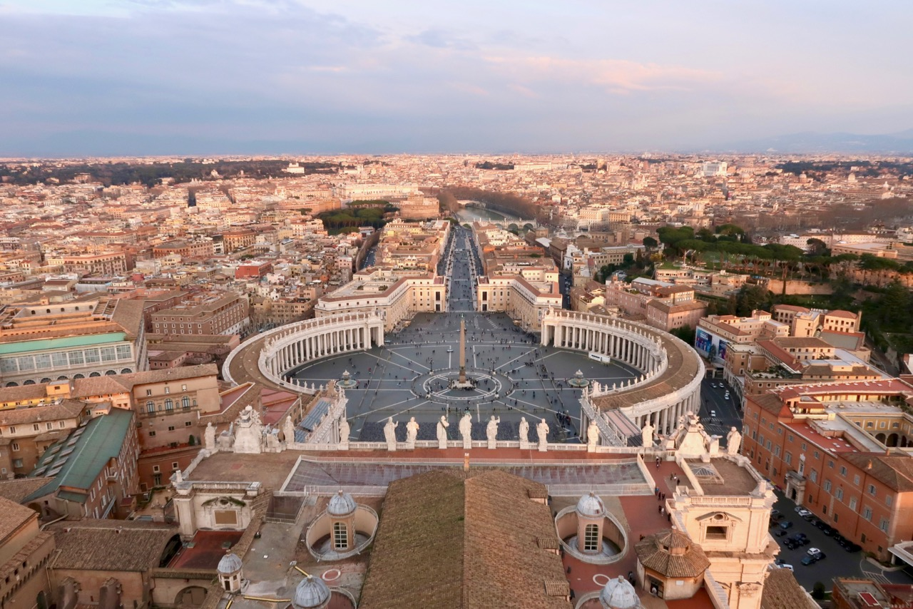 view from top of the dome of st peters basilica