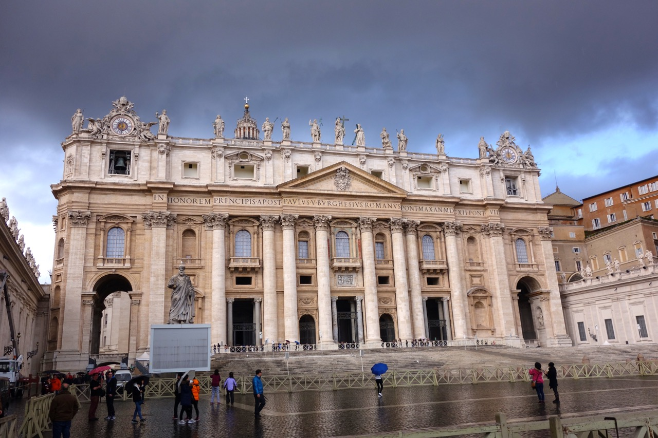 st peters basilica with rain clouds winter