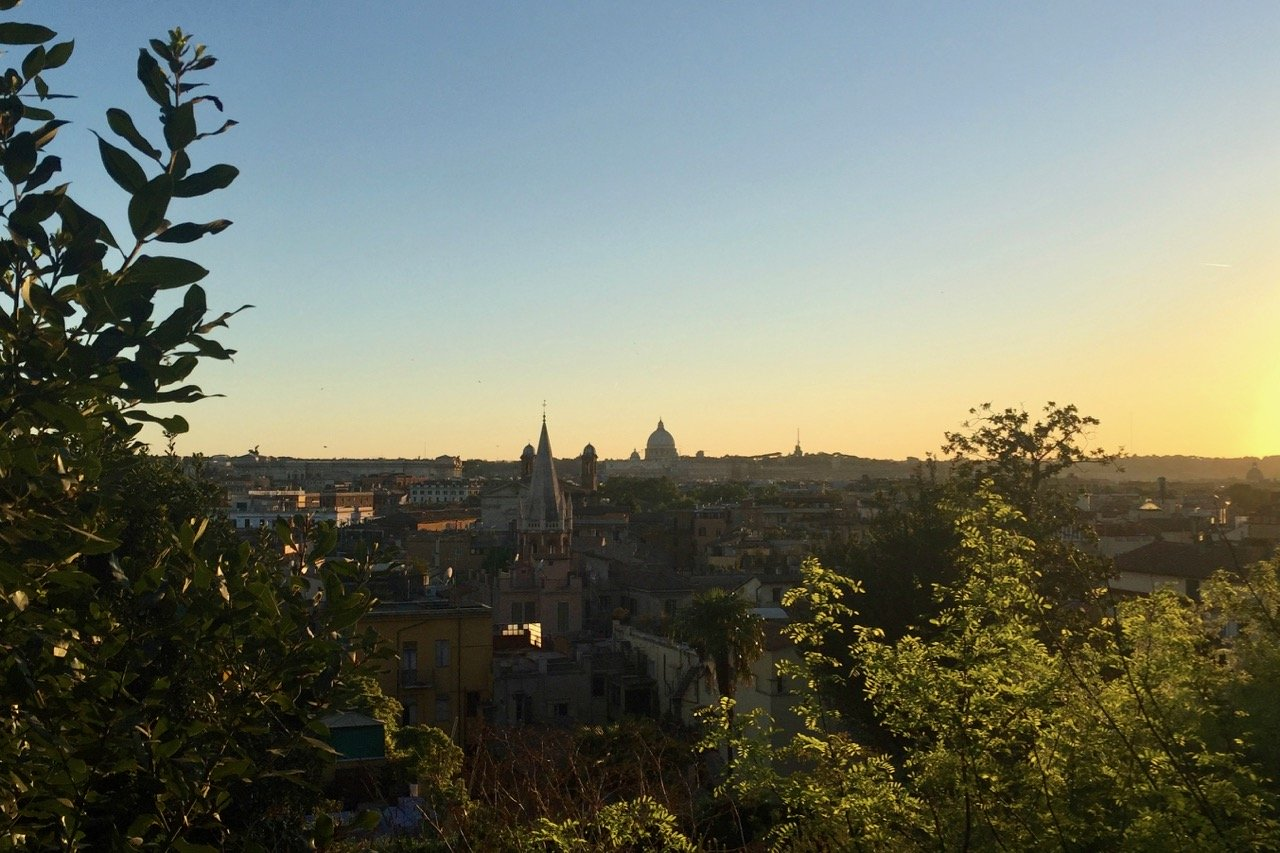 sunset from the pincio over rome