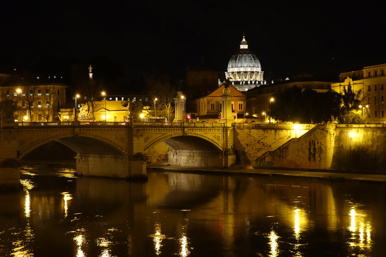 st peters at night and tiber