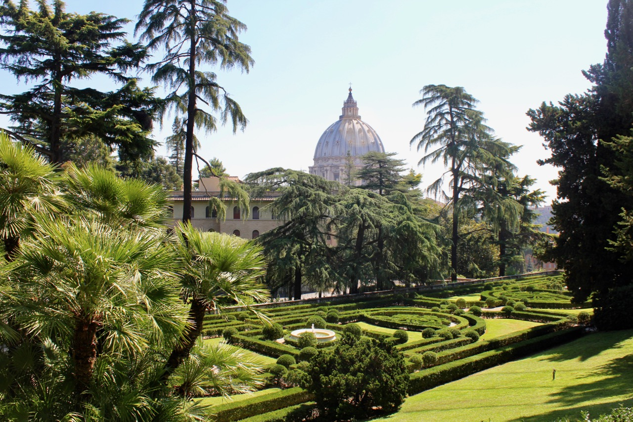 vatican gardens and vista of st. peter's basilica